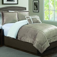 Geneva Home Fashion 4-Piece Micro Sherpa Comforter Set, Queen, Taupe