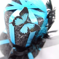 Hair Clip - Mini Top Hat, Stripes, Butterfly, Ribbons, Feathers, Turquoise, Black, Gray, Facinator