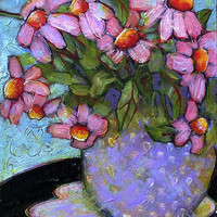 Coneflowers in Lavender Vase Painting by Blenda Studio - Coneflowers in Lavender Vase Fine Art Prints and Posters for Sale