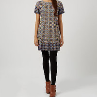Blue Tile Print Tunic Dress