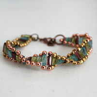 DNA Genetic Twisty Geeky Bracelet with Apatite, Peridot and Garnet