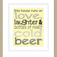 8x10 Beer Graphic Print, Yellow and Gray Wall Art