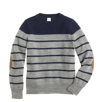 crewcuts Boys Rustic Merino Elbow-Patch Sweater In Stripe