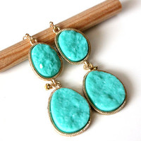 Druzy mint earrings - rich color