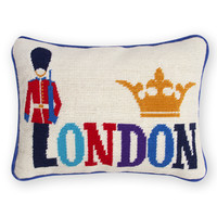London Needlepoint Throw PillowITEM #: 23341