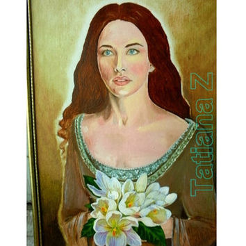 """Expectation - original oil painting 13,78""""-19,68"""" (35cm -50 cm) oil cardboard middle ages girl with flowers portrait"""