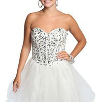 sweetheart paneled bodice sequin homecoming dress - debshops.com