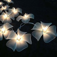 White Floral Flower Handmade String Lights for Weddings, Parties, Home Decoration - White Floral String Lights