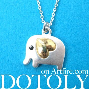 Elephant Animal Pendant Necklace in Silver with Heart Shaped Ears - Elephant Necklace in Silver
