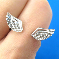 Angel Wings Adjustable Ring with Feather Detail in Silver - Adjustable Angel Wings Ring