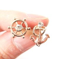 Nautical Themed Anchor and Wheel Shaped Stud Earrings in Rose Gold - Anchor and Wheel Earrings in Rose Gold