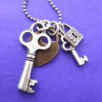 Lock and Skeleton Key Pendant Necklace in Silver and Brass | DOTOLY - Lock and Key Necklace