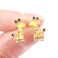 Abstract Giraffe Shaped Animal Themed Stud Earrings in Yellow | DOTOLY - Giraffe Shaped Stud Earrings in Yellow