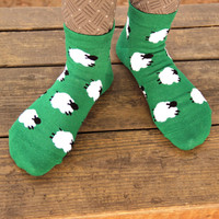 Field of Sheep Graphic Print Cotton Short Ankle Socks for Women in Green - Field of White Sheep Animal Print Ankle Socks