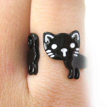 Adorable Kitty Cat Shaped Cartoon Animal Wrap Around Ring in Black | DOTOLY -