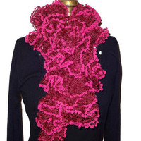 Handmade Knitted Pink Ruffle Scarf