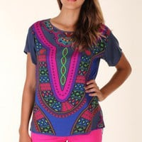 MULTICOLOURED COLORFUL TRIBAL TOP @ KiwiLook fashion