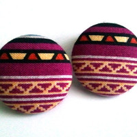 Large purple tribal button earrings