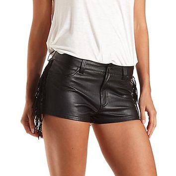 Fringe Trim Faux Leather Shorts by Charlotte Russe - Black