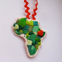 Embroidered Africa Christmas ornament celebrating love for Ethiopia in greens with a red heart