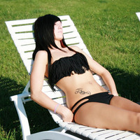 SMALL Black Fringe Bikini SET