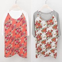 YESSTYLE: Bluemint- Raglan-Sleeve Floral-Print T-Shirt - Free International Shipping on orders over $150