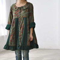 Cotton patchwork Single breasted doll long shirt dress