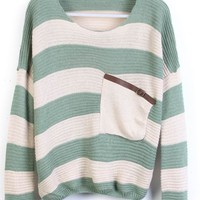 Green Stripes Loose Sweater with Pocket - Sheinside.com