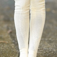 All The Trimmings Boot Socks-Ivory