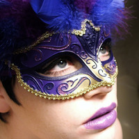 Pour Elissa// Majestic feathered royal violet & cobalt blue Venetian mask w/gold accents