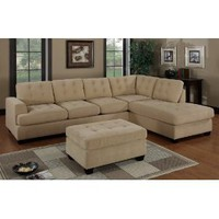 Bobkona Austin 3-Piece Reversible Sectional with Ottoman Sofa Set, Khaki