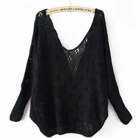 Black Sexy Sweater with Lace Back$42.00