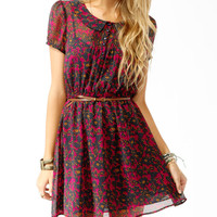 Spotted Floral Print Shirtdress w/ Belt
