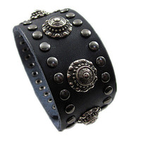 Real Black Leather Women Leather Jewelry Bangle  Men Leather Cuff Bracelet Unisex bracelet SL0359