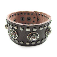 Real Brown Leather Women Leather Jewelry Bangle  Men Leather Cuff Bracelet Unisex bracelet SL0359-BR