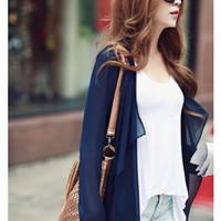 Blue Chiffon Long Sleeve Lapel One Size Loose Outfit@H3835bl