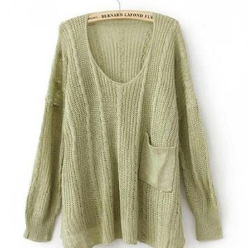 Green Twist Loose Pocket Decoration Sweater$42.00