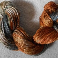 Dark Sage, Copper, Butterscotch, Green, Autumn, Unique, Jumbo Perle Medium, Mixed Media, Textile Art, Fiber Art, Green, Yarn, Serendipity