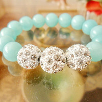 Ocean Blue Jade Shamballa Bracelet