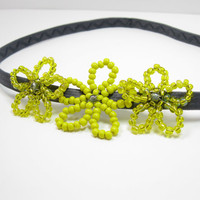 Yellow Flower Headband, Beaded Headband with Flower, Beaded Flower