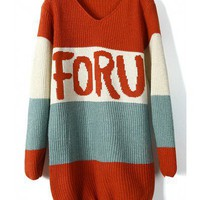 Mixed colors retro stripes letter V-neck loose sweater  style sweater293