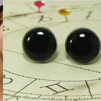 Black Stud Earrings 20mm - Black Studs - Small Dark Black Earrings - Round Stud Earrings - Earring Studs - Post Earrings Jewelry