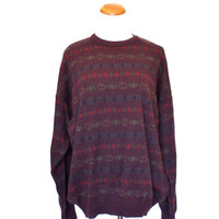 80's Purple Patterned Stripe Sweater