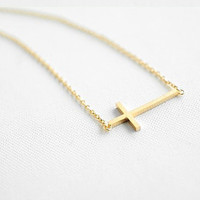 Golden Sideways Cross Necklace rose gold titanium steel crossing pendant 14k women collarbone necklace short necklace XL106