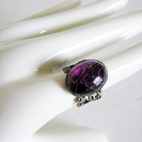 Amethyst Swirl Ring, Vintage Glass