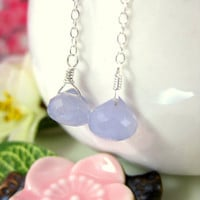 Lavendar blue chalcedony drop earrings