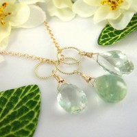 Triple green amethyst gold hoop pendant necklace