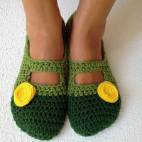 Crochet Womens Slippers, Ballet Flats, House Shoes With Yellow Felt Flower