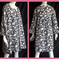 Vintage 60s MOD Empire Swing Coat Black White Hi Lo  Graphic Floral Cotton S Meo of California