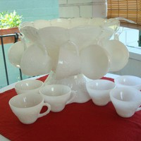 Vintage Anchor Hocking Grape Milk Glass Punch Bowl Set